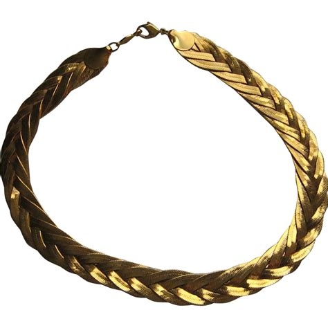 vintage napier necklace braid weaved gold plated inches