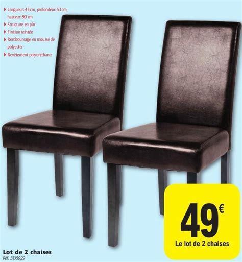 carrefour promotion lot de 2 chaises produit maison