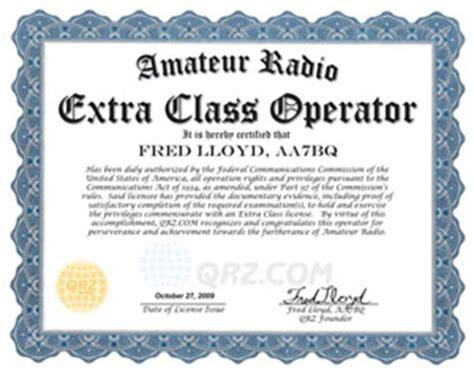 amateur radio license certificates