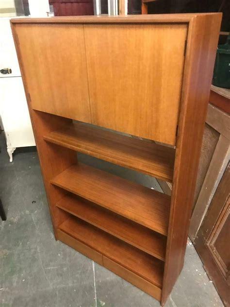 teak mid century retro  plan bookcase cabinet unit
