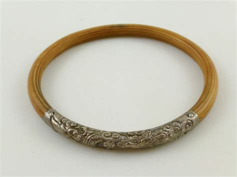 vtg chinese sterling stamped dragon design bamboo rattan