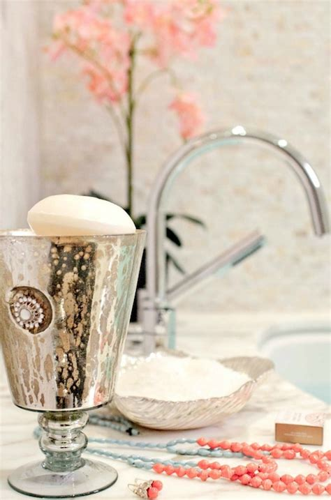 blue mercury glass bath accessories mercury glass bathroom accessories design ideas