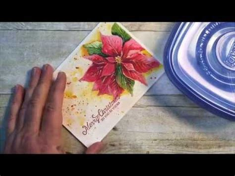 youtube watercolor christmas cards tutorials painted watercolor poinsettia embossed sentament card