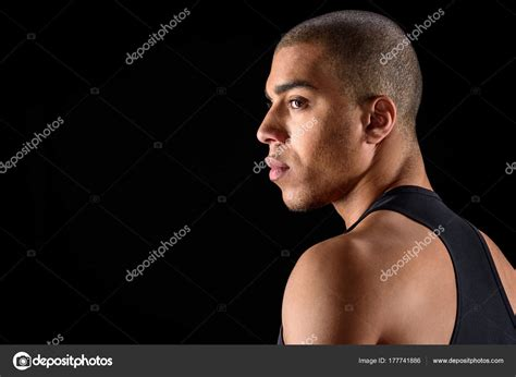 Black Stock Images Side View American Looking Away Isolated Black
