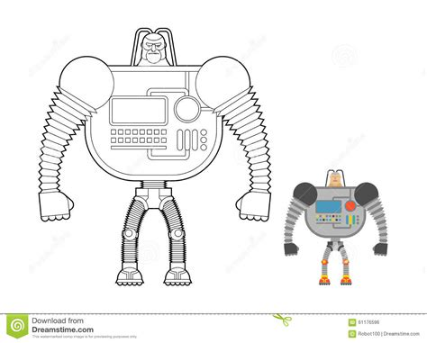 Cyborg Warrior Coloring Book. Man Machine From Outer Space