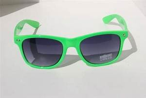 NEW Neon Green Sunglasses Vintage Retro 80 S Black