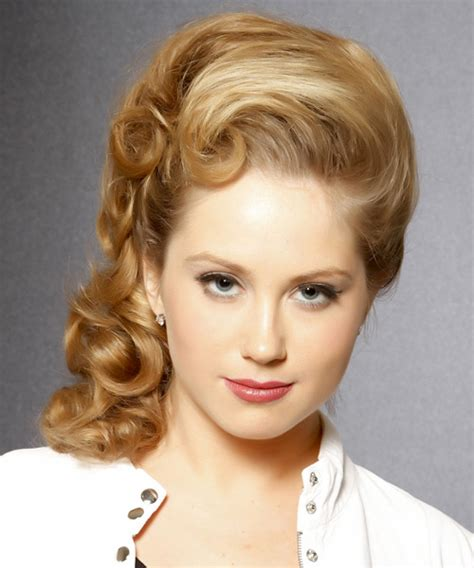 formal long curly updo hairstyle honey blonde hair color