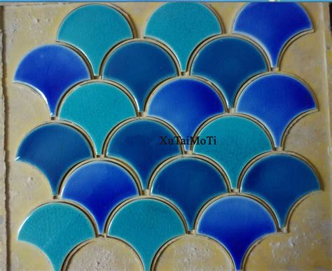 pcs blue green fish scale ceramic mosaic kitchen