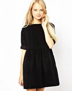 asos asos cord smock dress in black at asos With asos robe noire