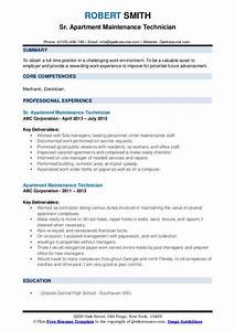 Maintenance Worker Resume Apartment Maintenance Technician Resume Samples Qwikresume