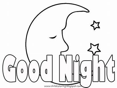 Clipart Night Evening Coloring Morning Goodnight Pages