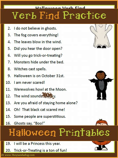 Halloween Printables Finding Verbs  3 Boys And A Dog
