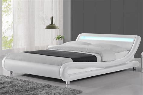 madrid led lights modern designer white bed frame single