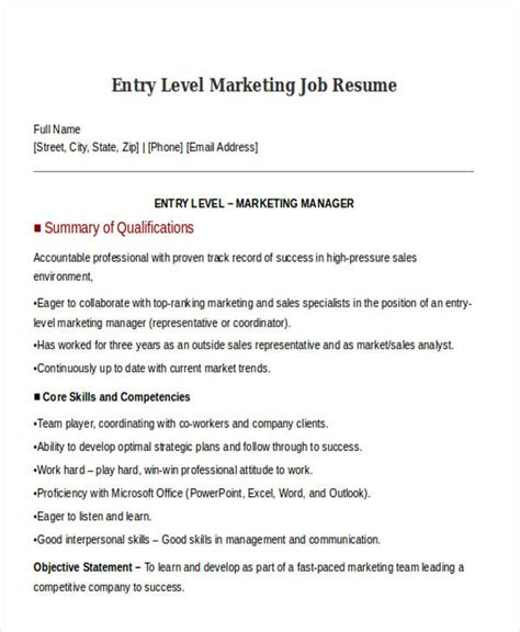 Entry Level Position by 30 Simple Marketing Resume Templates Pdf Doc Free