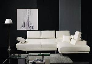 Living Room. L Shaped White Leather Sofas With Fold Up ...