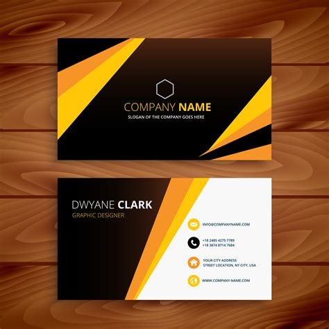 creative yellow  black business card business vector