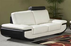 white black full leather modern sofa w optional items With modern sectional sofas austin