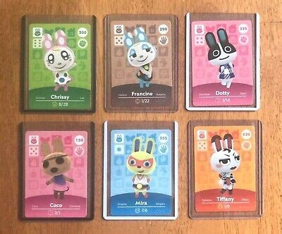 Make your life easy with the tried and tested custom amiibo cards for your home, office, shop, and vault. Animal Crossing Amiibo Cards, Coco, Dotty, Mira, Tiffany, Chrissy, Francine, Lot   eBay