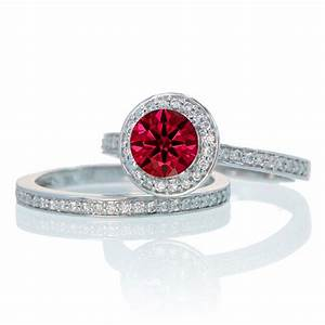 2 carat unique classic halo round ruby and diamond bridal With 10k white gold wedding ring set