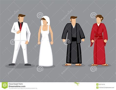 Traditional Japanese Wedding Suit by Couples In Western Style Wedding Costume And Japanese
