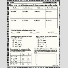 3rd Grade Math Summer Review Packet Freebie By Gregory