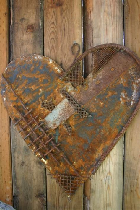 heart decoration  scrap metal collage recyclart