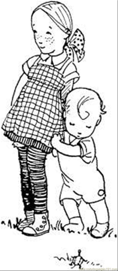 sister   brother coloring page