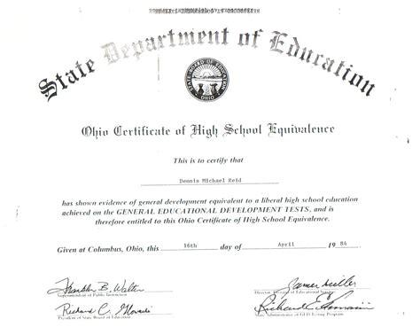 Blank GED Diploma Certificate