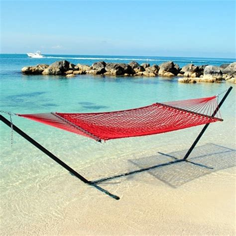 Poolside Hammock by Large Woven Polyester Poolside Caribbean Rope Hammocks