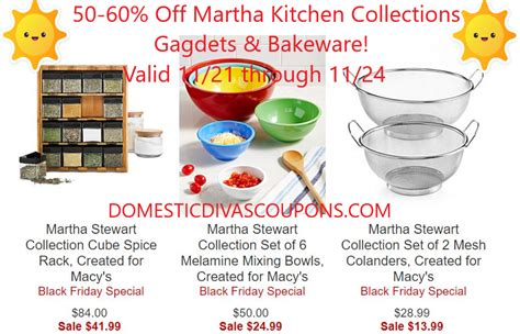 kitchen collections coupons 50 60 martha kitchen collections gagdets bakeware