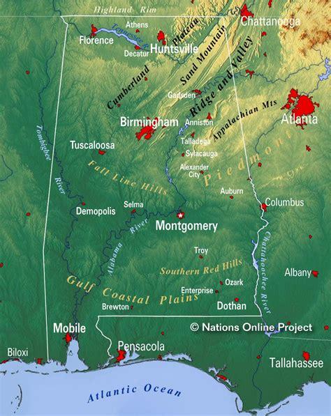 map  alabama state usa nations  project