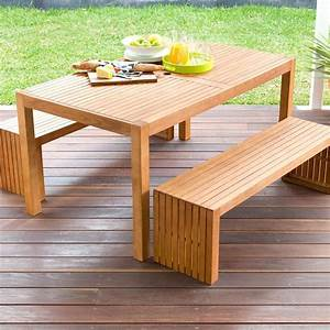 3-Piece Wooden Table and Bench Set Kmart