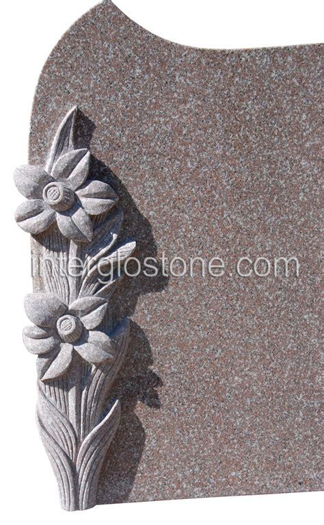 interglo stone carved daffodils headstone