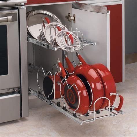 pots and pans rack cabinet rev a shelf 5cw2 2 tier cookware organizer atg stores