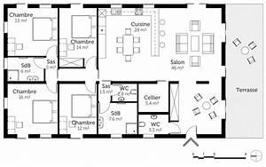plan maison de plain pied 160 m2 avec 4 chambres ooreka With plan maison 6 chambres plain pied