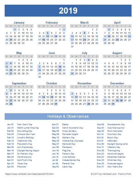 2019 Calendar with Holidays Printable