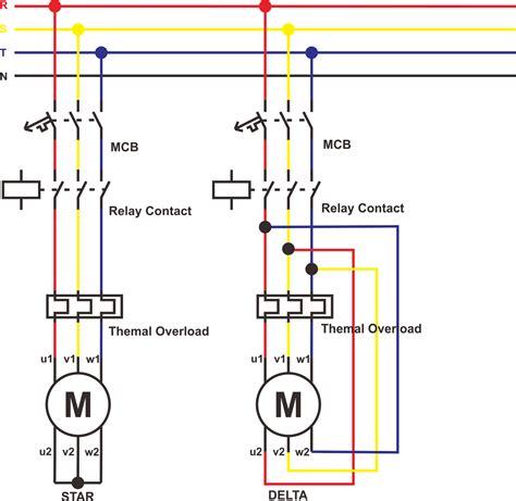 rangkaian daya motor 3 fasa perbedaan rangakaian delta