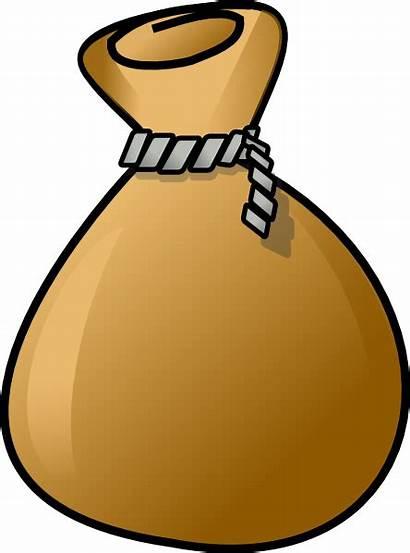 Sack Clip Clipart Brown Cartoon Rope Bag