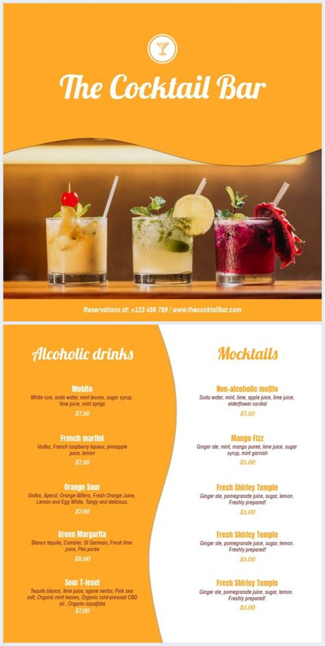 colorful cocktail list template flipsnack