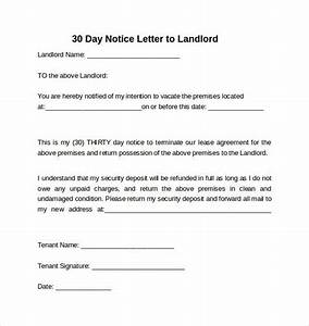 notice to vacate premises sample 30 day notice to landlord california being a landlord