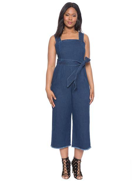 plus size denim jumpsuits cropped denim tie jumpsuit 39 s plus size dresses