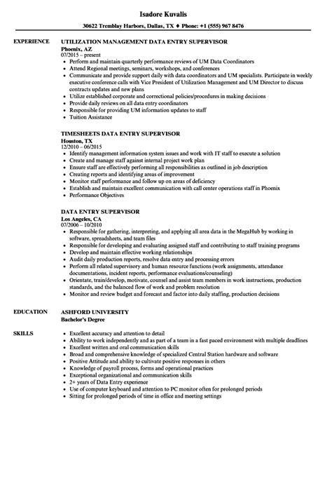 Data Entry Resume by Data Entry Supervisor Resume Sles Velvet