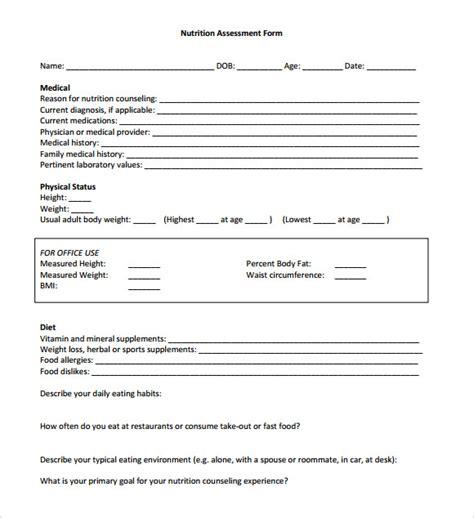 sample health assessments