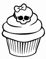 Cupcake Coloring Skull Cupcakes Awesome Pages Adult Drawings Netart Colouring Cute Icolor Cakes Sprinkles Line Minnie Mouse Print sketch template