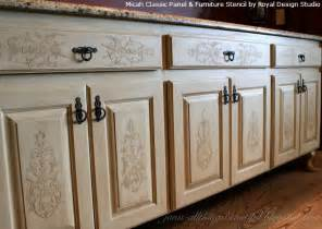 kitchen door furniture embossed stenciling on furniture and cabinet doors and drawers paint pattern