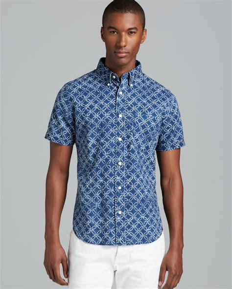 spade circle print batik sleeve sport shirt slim fit in blue for indigo lyst