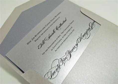 Black Foil Silver Wedding Anniversary Invitation