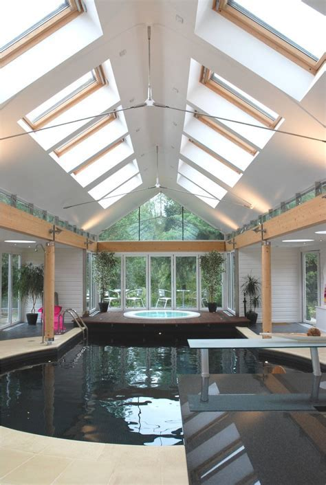 Indoor pool enclosure pool modern with large pool tongue