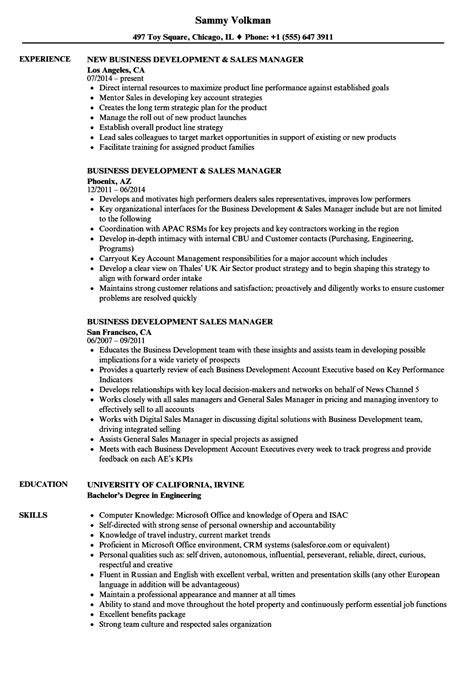 Business Development Sales Manager Resume by Business Development Sales Manager Resume Sles Velvet