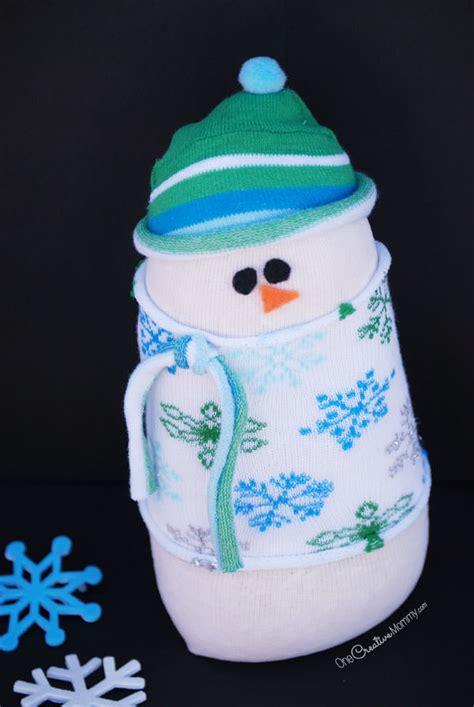 adorable sock snowman kids craft  winter decor